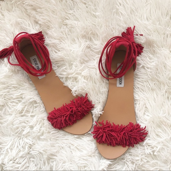 2903a1fa4be STEVE MADDEN • Red Sweety Fringe Wrap Sandals. M 5c75de699fe4865555004a7a